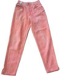 Burberry Orange Cotton Jeans