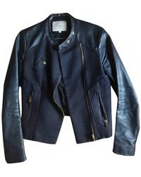 Maje Leather Jacket - Blue