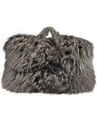 Chanel Gray Faux Fur Handbag