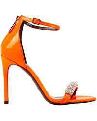 CALVIN KLEIN 205W39NYC Orange Patent Leather Sandals