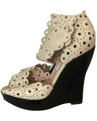 Oscar de la Renta Beige Leather Heels - Natural