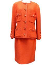 Chanel Vest en Laine Orange - Multicolore