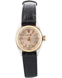 Rolex Lady Oyster Perpetual 24mm Gelbgold Uhren - Schwarz