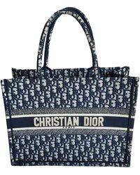 Dior Book Tote Leinen Handtaschen - Blau