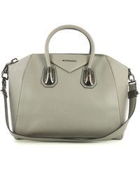 Givenchy - Antigona Grey Leather Handbag - Lyst