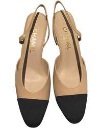 Chanel Tacones en cuero beige Slingback - Neutro