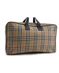Burberry Beige Cloth Travel Bag - Natural