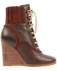 Chloé Leather Boots - Brown