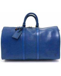 Louis Vuitton Borsa da viaggio in pelle blu Keepall
