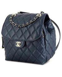 Chanel Sac à dos Timeless/Classique en Cuir Bleu