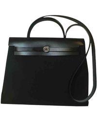 Hermès Sac à main Herbag en Coton Noir