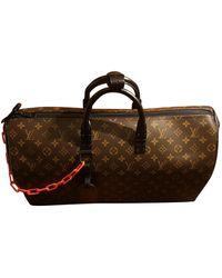 Louis Vuitton Borsa in tela marrone Keepall