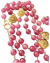 Chanel - Vintage Pink Metal Long Necklace - Lyst