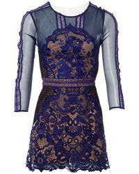 0334fcdfbd4cf Self-Portrait Eyelet Wrap Mini Dress in Blue - Lyst