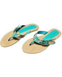 Burberry Patent Leather Flip Flops - Blue