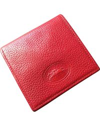 Longchamp Red Leather Purse Wallet & Case