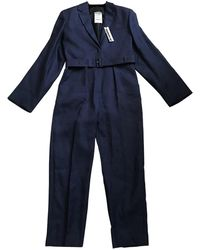 Jil Sander Navy Wool Jumpsuits - Blue