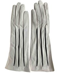 Moschino White Leather Gloves
