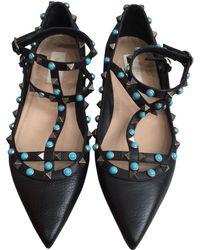 1e0e11d93d86 Valentino - Pre-owned Rockstud Black Leather Ballet Flats - Lyst