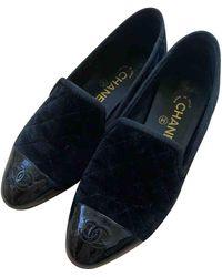 Chanel Velvet Flats - Black