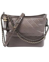 Chanel Gabrielle Grey Leather Handbag - Gray