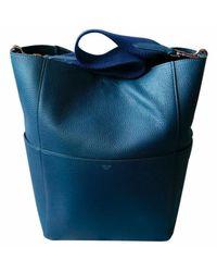 Céline Seau Sangle Blue Leather Handbag