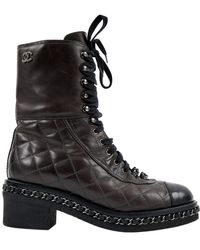 Chanel Quilted Cap-toe Combat Boots Brown