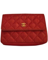 Chanel Leinen Clutches - Rot
