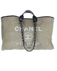 Chanel Sac à main en Toile Beige - Multicolore