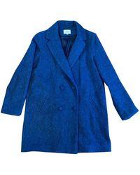 Sezane - Blue Wool Coat - Lyst
