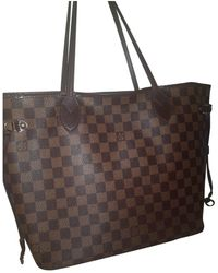 Louis Vuitton Borsa Neverfull in Tela - Marrone