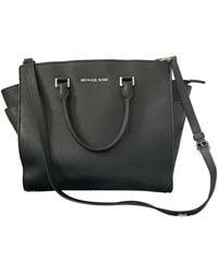 Michael Kors Black Selma Leather Satchel Bag