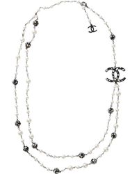 Chanel - Pre-owned Silver Metal Long Necklaces - Lyst