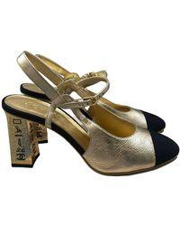 Chanel Slingback Leather Heels - Multicolor