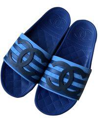 Chanel Blue Rubber Sandals