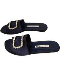 Manolo Blahnik Cloth Mules - Blue