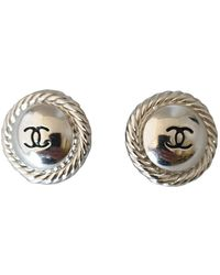 Chanel Boucles d'oreilles CC en Métal Argenté - Multicolore