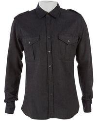 Burberry - Camisas en algodón gris - Lyst