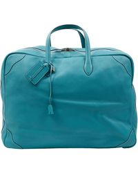 Hermès Sac de voyage en Cuir Turquoise - Bleu