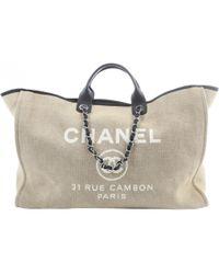 Chanel Deauville Leinen Reisetaschen