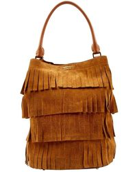 Burberry The Bucket Camel Suede Handbag - Brown