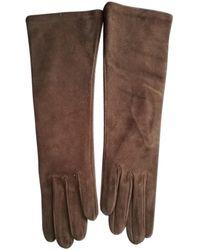 Dior Guantes en cuero marrón
