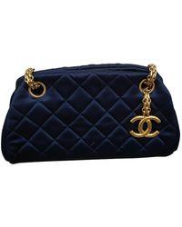 Chanel Bowling Bag Seide Cross Body Tashe - Blau
