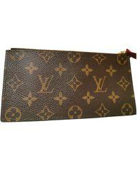 Louis Vuitton Brown Cloth Purses Wallets & Cases