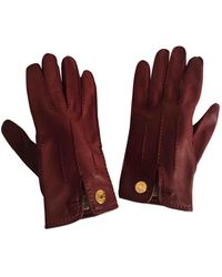 Hermès Guanti in pelle bordeaux - Rosso