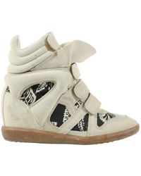 Isabel Marant Beckett Beige Suede Trainers - Natural