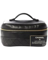 Chanel Black Leather Travel Bag