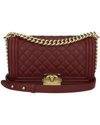 551f0f88d26f Chanel - Boy Burgundy Leather Handbag - Lyst