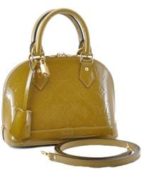 Louis Vuitton Alma Bb Khaki Patent Leather Handbag - Natural