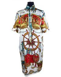 Hermès Robe mi-longue en soie - Multicolore